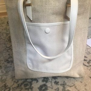 Ann Taylor Burlap and white leather tote